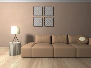 Wohndesign - Sofa hellbraun vor rotbrauner Tapete