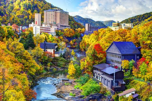 Leinwandbild Motiv Hot Springs Resort Town in Jozankei, Hokkaido, Japan