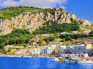 View of Marina Grande, the harbor of Capri, Italy