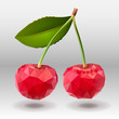 Polygonal red cherry berries with green leaves.