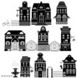 Set of Cartoons fairy tale drawing houses