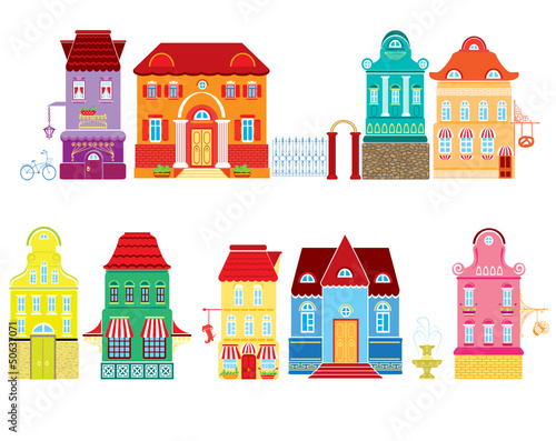 Set of Cartoons fairy tale drawing houses © lian_2011