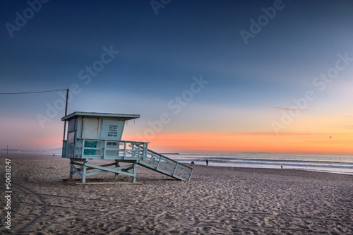 Poster Strand Santa Monica beach at sunset, Los Angeles