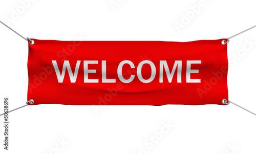 Welcome message banner 3d illustration