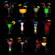 Set of vector cocktails on black background