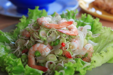 Thai Noodle salad with shrimp.