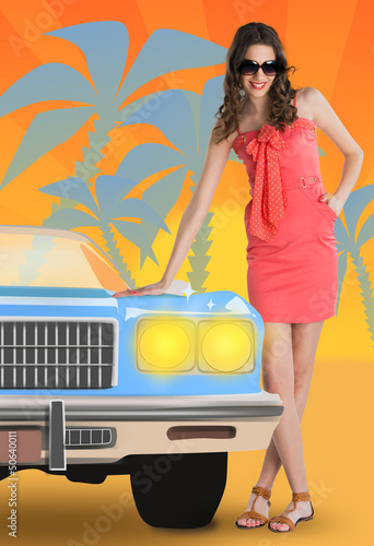 Summer concept with a woman and car drawing