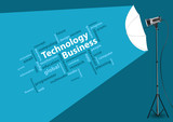 Technology business concept with creative studio lighting