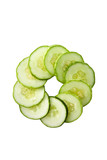 Slices of healthy green cucumber arranged in circle shape