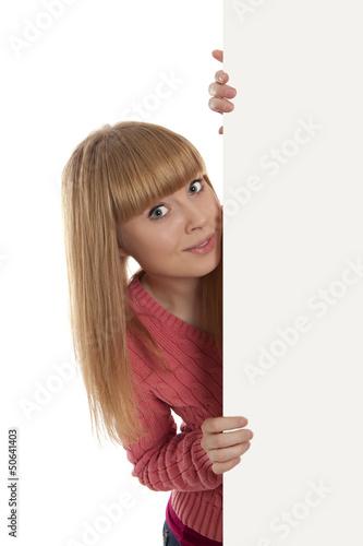 Woman showing blank signboard