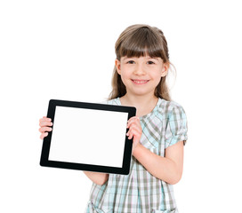 Happy little girl holding a blank tablet