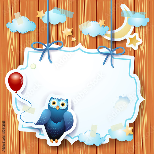 Owl and balloon with custom label