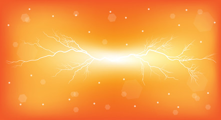 electrical discharge on orange background