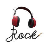 3d headphones and rock typographic design isolated poster