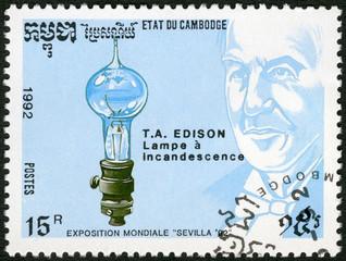CAMBODIA - 1992: shows Thomas Edison (1847-1931), electric light