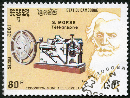CAMBODIA -1992: shows Samuel Morse (1791-1872), telegraph