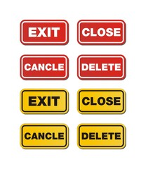 exit, close, delete, cancle signs