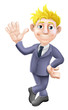 Man in suit waving cartoon