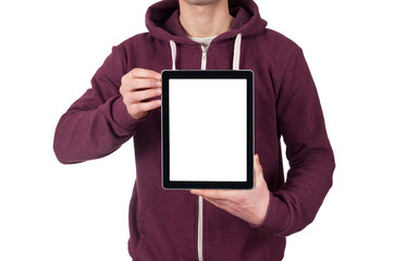 young man holding blank digital tablet