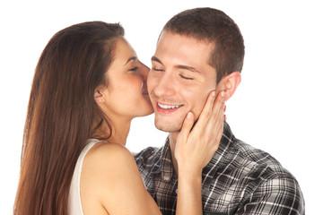 Lovely couple. Girl whispering her boy