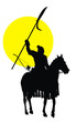 Medieval chinese warrior on horseback detailed vector silhouette