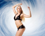 very beautiful woman in black lingerie on blue backgroudn