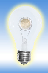 bulb with euro in blue