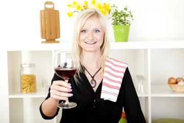 Elegant woman making a toast