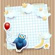 Owl an balloon on cardboard