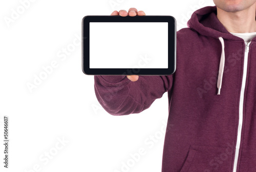 young man holding blank digital tablet.