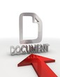 Isolated document icon with red arrow in a white background