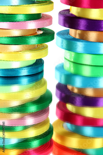 Bright ribbons close-up
