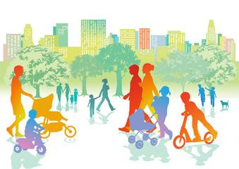 Familien mit Kindern gehen Spazieren