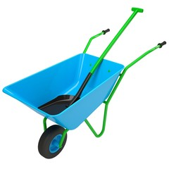 Wheelbarrows and shovel
