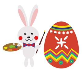 easter silver bunny - painting eggs