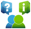 2 People Speech Bubbles Question & Information Blue/Green