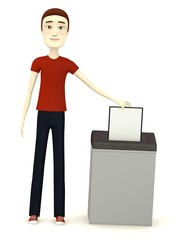 3d render of cartoon character with document and destructer