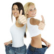 Beautiful girls are proud to lose weight - showing thumb up