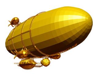 golden, magical Zeppelin airship