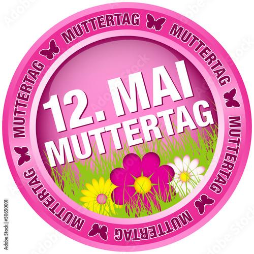 """Button Blumen """"12. Mai Muttertag"""" pink"""