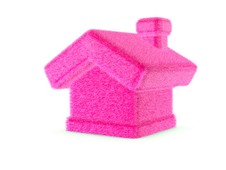 3d pink furry house