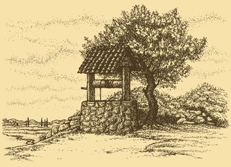 Vector landscape. Old well in the shade of tree on the hill