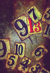 grunge tin plate numbers