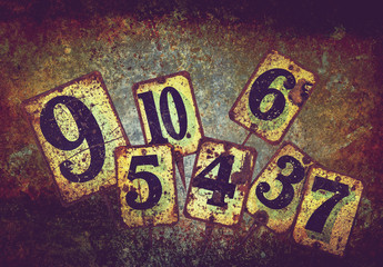 rusty metal numbers