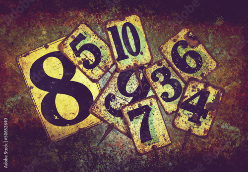 rusty tin plate numbers