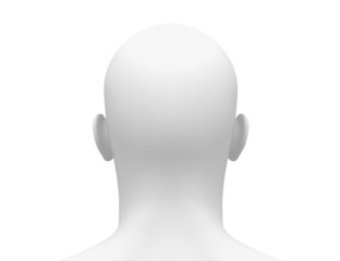 Blank White Male Head - Back view