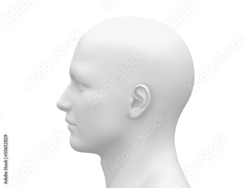 Blank White Male Head - Side view
