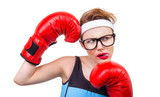 Young boxer girl pokes out her tongue poster