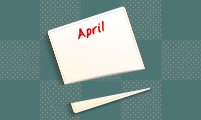 Calendar April note papers on checkered pattern