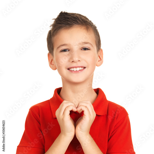 Portrait of happy boy with a heart shape